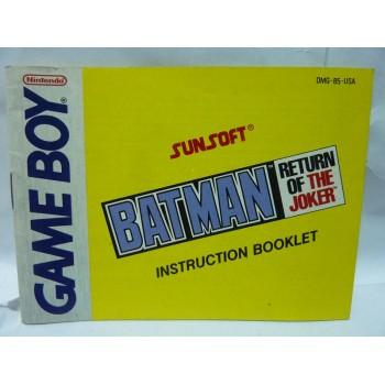 NOTICE DE BATMAN Return of the Joker Usa Game Boy